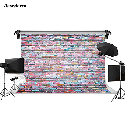 (Jewderm 9x6ft Rainbow Bricks Photography Backdrop Retro Background for Party Cake Table Wall Decoration Photographic Cloth Curtain Studio Props Photo Booth)