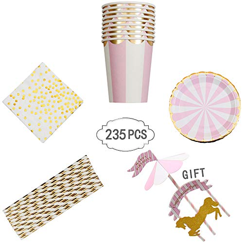 235 PCS Pink Stripe Disposable Dinnerware Set for Girl Baby Shower Birthday Party 40-Set Paper Tableware with Paper Plates, Napkins,Cups, Paper - Paper Tableware