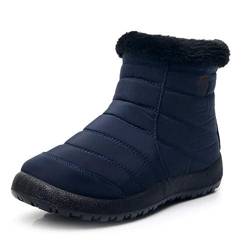 HDUFGJ Winter Damen Stiefel Plus Samt warme Schneestiefel