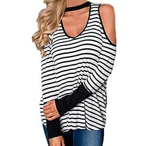 Las mujeres blusa, y # x2764; Y # xFE0F; familizo señoras sin tirantes Fashion rayas impresión Tops de manga larga blusa camiseta de tirantes ropa de mujer baggy Jumper
