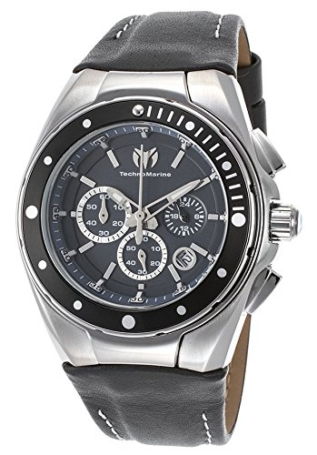 TechnoMarine 'Manta Ray' Quartz Stainless Steel and Leather Watch, Color:Grey (Model: 215036)