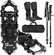 Odoland 4-in-1 Lightweight Snow Shoes Set for Men and Women, Easy to Use Snowshoes with Trekking Poles, Waterp