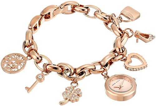 - Anne Klein Women's  Swarovski Crystal Accented Rose Gold-Tone Charm Bracelet Watch