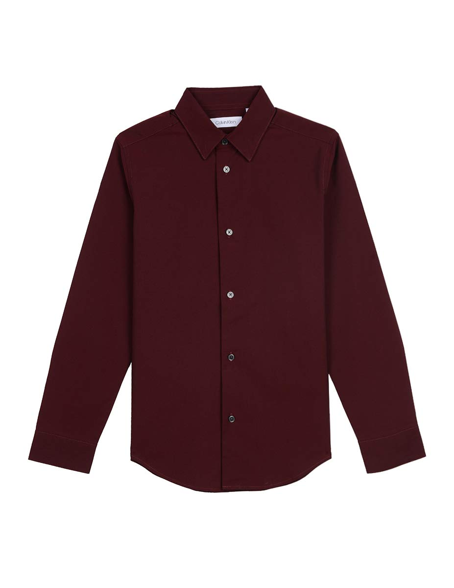 Calvin Klein Big Boys' Long Sleeve Solid Button-Down Dress Shirt, Bright Burgundy, 14