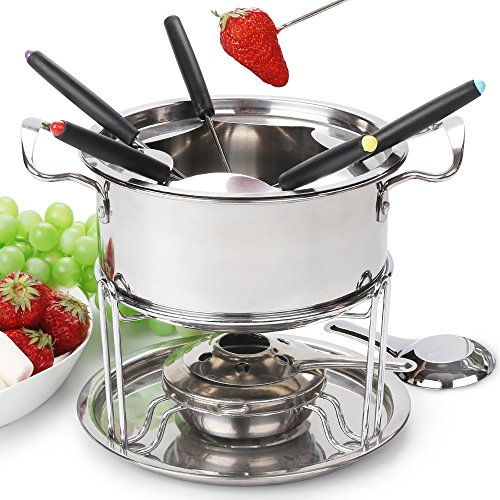 Fondue pot set Fondue Maker Stainless steel of 6 forks/ DIY chocolate fondue set silver / Meat Cheese Fondue Sets