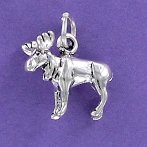 (Moose Charm Sterling Silver 925 for Bracelet Antlers Caribou Elk Deer Alaska 3D Jewelry Making Supply, Pendant, Charms, Bracelet, DIY Crafting by Wholesale Charms)