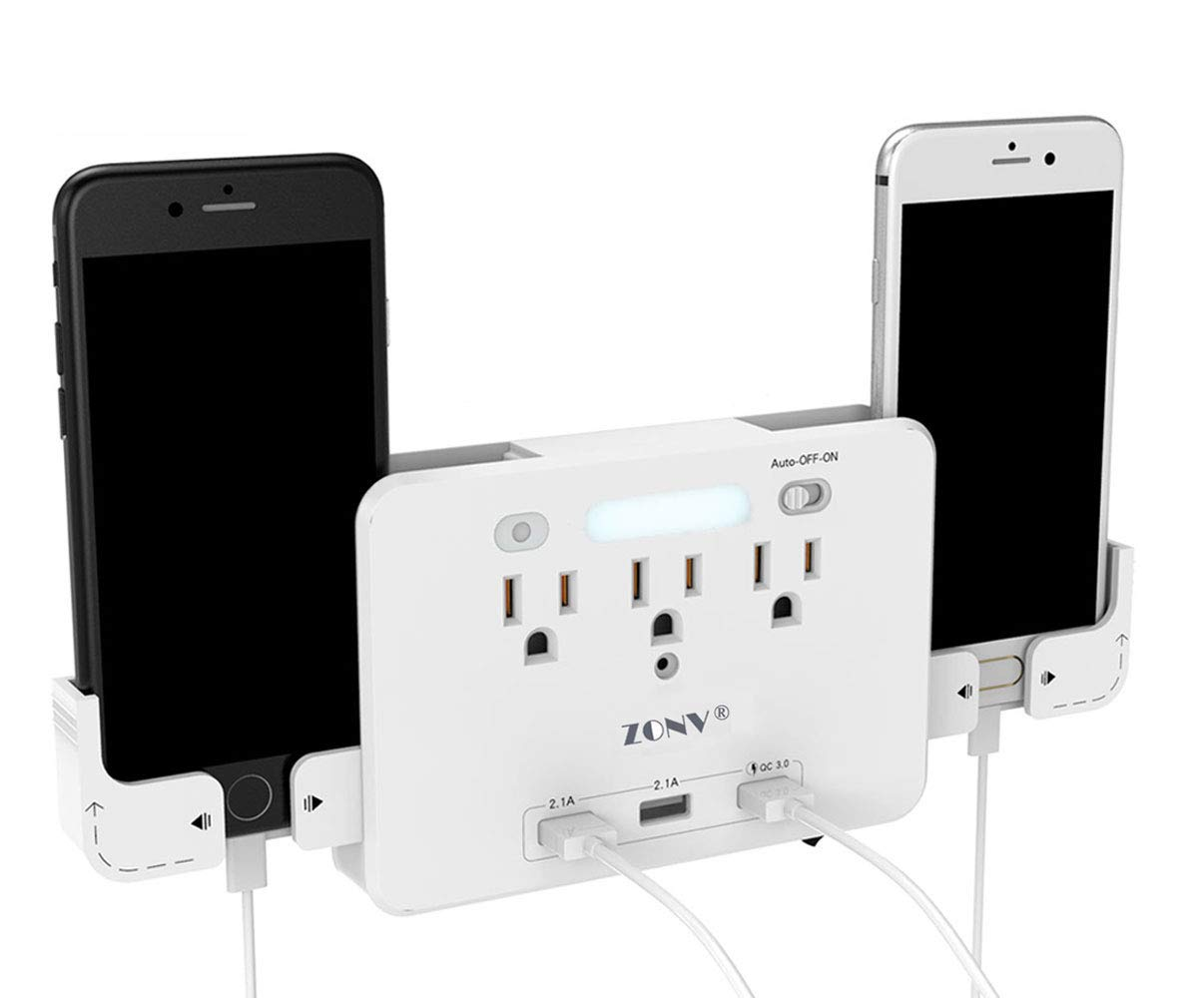 QC 3.0 USB Charger Portable Wall Mount Outlet Plug with DuaL Charging Ports and Quick Charger 3.0, Multiple Adapter LED Sensor Night Light 2 Slide Out Phone Holders Socket Shelf Surge Protector