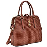 MKP Collection Weaved Design Satchel~Fashion Women Handbag~Boutique Women's Designer Handbag ~Beautiful Designer Shoulder handbag~Classic Shoulder Handbag(6642) Cognac