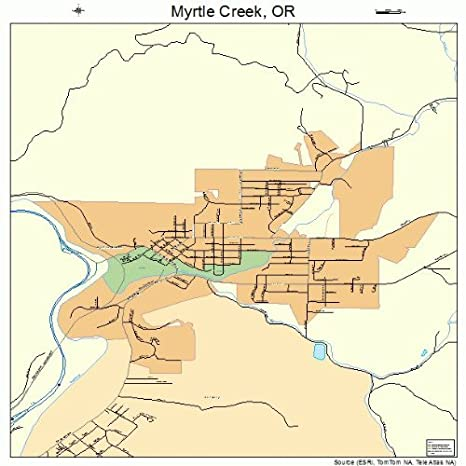 Amazon Com Large Street Road Map Of Myrtle Creek Oregon