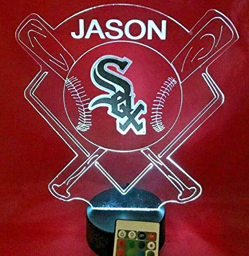 - White Sox Light Up Lamp LED Baseball Personalized Light Up Table Lamp, Our Newest Feature - It's Wow, with Remote 16 Color Options, Dimmer, Free Engraving, Great Gift