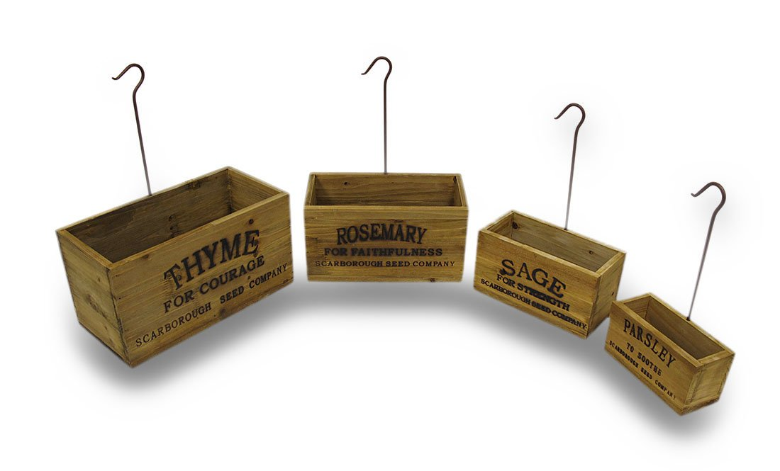 Wood Planters Set Of 4 Vintage Look Nesting Herb Growing Boxes With Hangers 13 X 7 X 6.5 Inches Brown