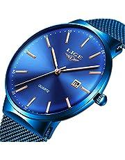 LIGE Ultra Mince Minimaliste Analogique Quartz Montre Mode Bleu en Acier Inoxydable Date Montres Sport Imperméable Maille Femmes Regarder