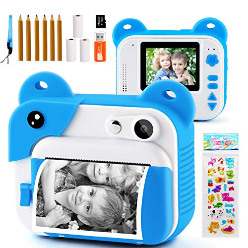 PROGRACE Kids Print Camera Instant Print Camera for Kids Travel Learning Birthday Gift Portable Digital Creative Print Camera for Boys Zero Ink Kids Camera Toy Toddler Camera with Print Paper(Blue)