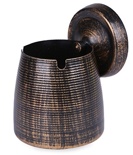 LOTUS LIFE Ashterior Ashtray with lid for Cigarettes Windproof Stainless Steel Outdoor Indoor Copper Brown - Tray Urn Black Insert Smoking