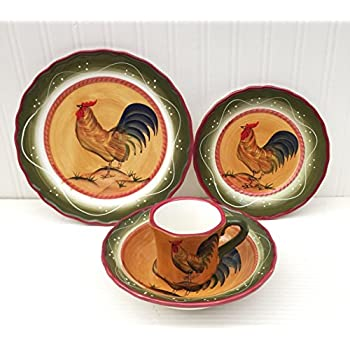 Tuscan Sunshine Country Rooster Hand Painted collection (DINNERWARE SET)  sc 1 st  Amazon.com & Amazon.com | Pfaltzgraff Homespun Rooster 16-Piece Dinnerware Set ...