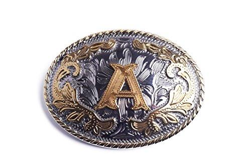 Waypower Word Letter A Oval Western Belt Buckle Gold