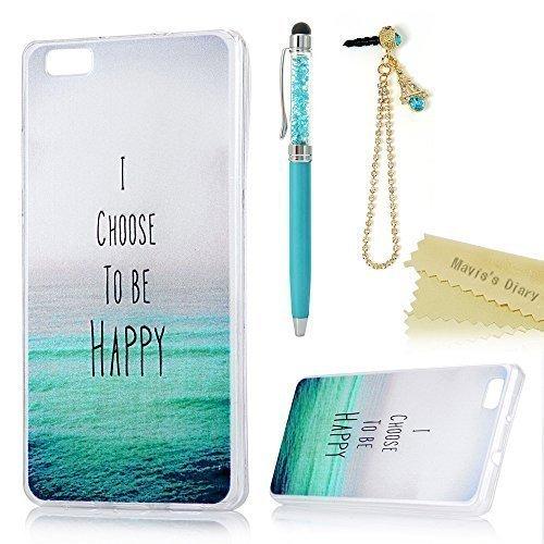 Maviss Diary Funda Huawei P8 Lite Versión 2015/2016, Carcasa Silicona Case Ultra Delgado Gel TPU Goma Flexible Cover Protectora para P8 Lite - Mar
