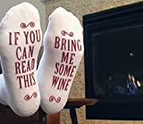 "Luxury Combed Cotton ""Bring Me Some Wine"" Novelty Socks - Perfect Hostess or Housewarming Gift Idea for Women, Valentines Day Gift Idea for a Wine Lover - By Haute Soiree"