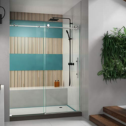 DreamLine Enigma-X 56-60 in. W x 76 in. H Fully Frameless Sliding Shower Door in Polished Stainless Steel, SHDR-61607610-08