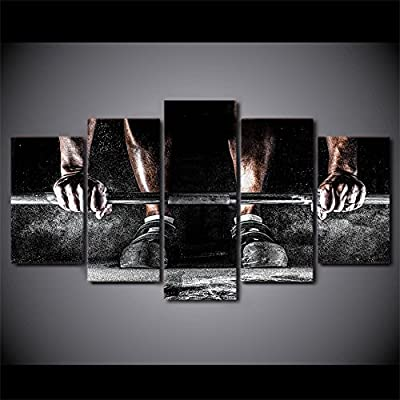 Bodybuilding and weightlifting print canvas gym decoration 5 pieces