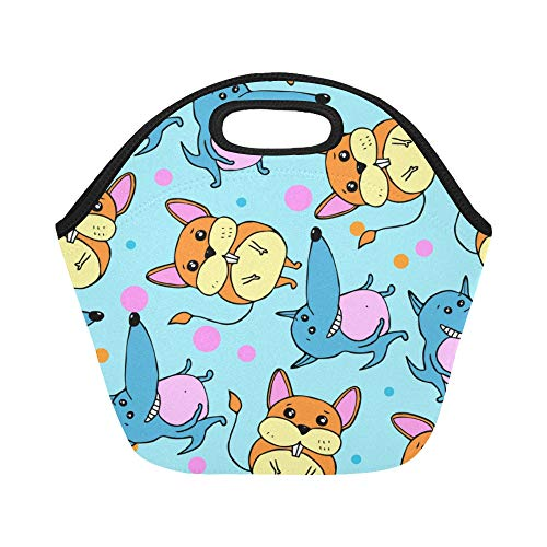 Insulated Neoprene Lunch Bag Cute Warm Heart Animal Pet Dog Large Size Reusable Thermal Thick Lunch Tote Bags Lunch Boxes For Outdoor Work Office School -