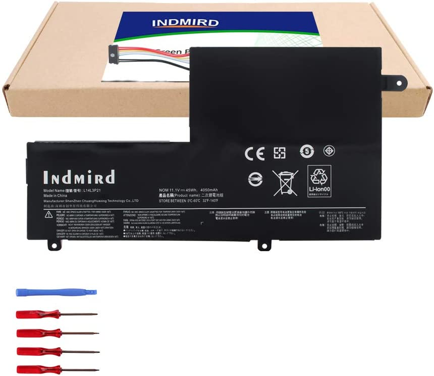 INDMIRD L14L3P21/L14M3P21 Laptop Battery OEM Compatible with Lenovo Flex 3 Flex 4 1470 1480 1570 1580 Edge 2-1580 Ideapad 300S 310S New Replacement Series L14M2P21 L14L2P21[11.1V 45Wh/4050mAh]