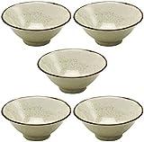 Mino Ware Soba Don 5 pieces Yellow Pear Rice Bowl