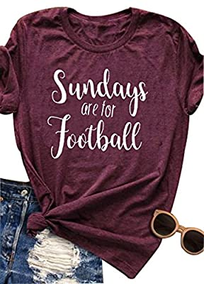 LONBANSTR Women Sundays are for Football Letter Printed T Shirt Casual Funny Top Tee
