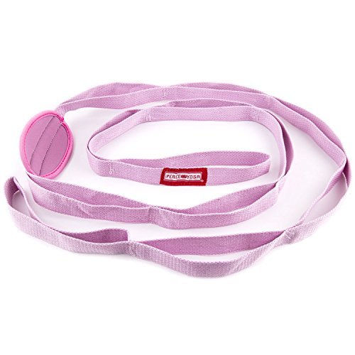 Peace Yoga Durable 7ft Cotton Yoga Stretching Exercise Strap Band with Multiple Grip Loops – Pink