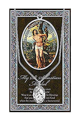 WJH St Sebastian Pewter Oval Medal w/Cont. Loop Stainless Chain | Patron Saint of Athletes