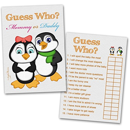 40 Baby Shower Game Cards 'Guess Who' Mommy or Daddy