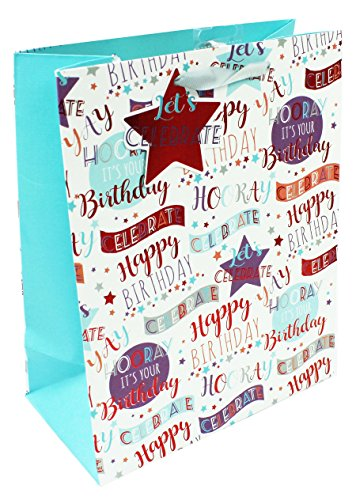 Mens White Medium Gift Bag Birthday Wrapping Paper Present Packaging Party...
