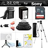 32GB Accessory Kit For Sony HDR-PJ260V, HDR-PJ200, FDR-AX53, FDRAX53/B 4k HD Handycam Camcorder Includes 32GB High Speed SD Memory Card + Replacement NP-FV70 Battery + Charger + Case + Tripod + More