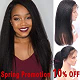 SMHair Human Hair Lace Front Wigs Brazilian Virgin Glueless Italian Yaki Wigs for Black Women Human Hair Pre Plucked Hairline with Baby Hair Natural Color Bleached Knots 130% Density 14inch