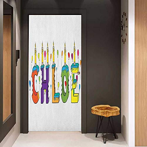(Onefzc Front Door Sticker Chloe Lettering with Cheerful Bitten Cake Candles Girly Birthday Party Design First Name for Home Decor W17.1 x H78.7 Multicolor)