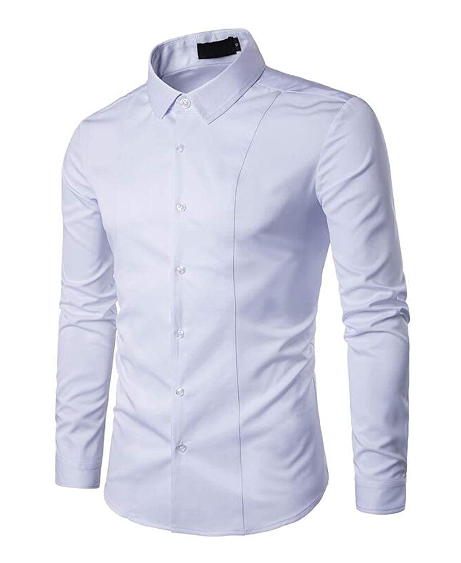 Fubotevic Mens Casual Slim Long Sleeve Solid Color Business Button Up Dress Shirt