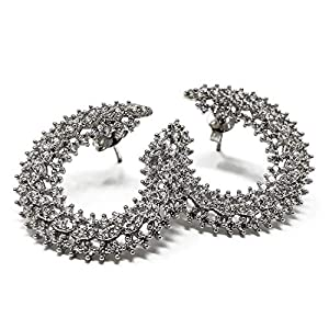 COCHÉ JEWELRY Star Clusters Cuff Earrings: Rhodium Plated Brass CZ Accent Earrings