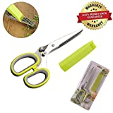 Herb Scissors Stainless Steel, Multipurpose Kitchen Shear 5 Blades With Cleaning Comb - Cutter/Chopper/Mincer for Herbs - Kitchen Gadget