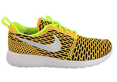 NIKE Womens Roshe One Flyknit Casual Shoes Volt White Total Orange 704927 702