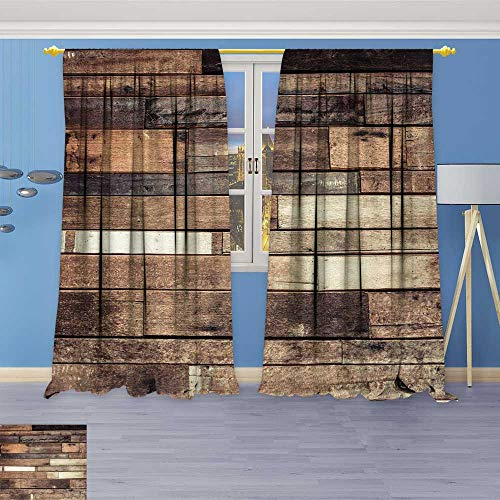 Leigh-home Room Darkening Wide Curtains and Ground Wooden Rustic Floor Planks Grungy Look Farmhouse Country Style Walnut Oak Grain Customized Curtains 96W x 84L Inch