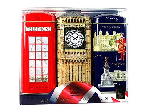 Explore London English tea Gifts 3 x 20 English breakfast tea bags in big ben telephone booth tin with money box (Booths Kitchens For Breakfast)