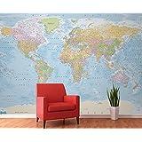 1 Wall Giant Blue Political Map Atlas Wall Mural 3.15 x 2.32m W4PL-BLUEMAP-007