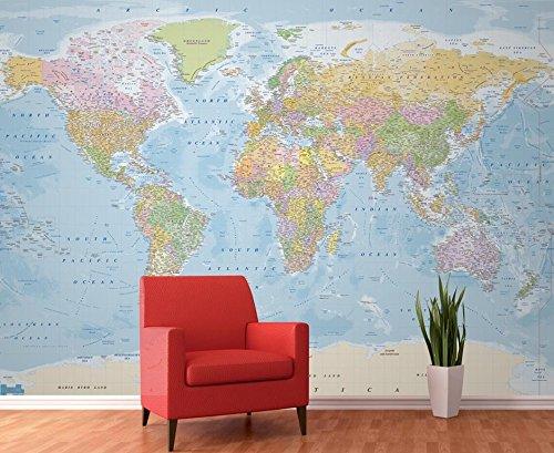 1Wall W4PL-BlauMAP-007 Blaue politische Landkarte Wall Mural Fototapete