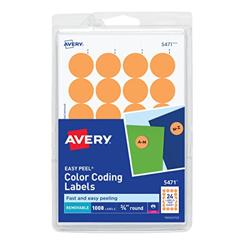 Avery Self-Adhesive Removable Labels, 0.75 Inch Diameter, Orange Neon, 1008 per Pack ()