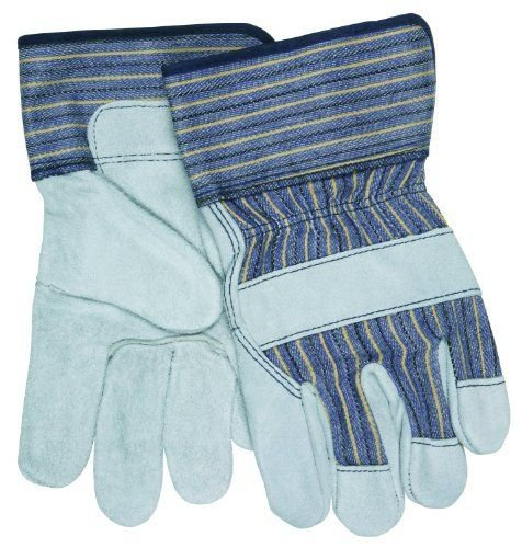 MCR Safety 1400XL Select Shoulder Cow Split Leather Gunn Gloves with Safety Cuff, Natural Pearl, X-Large, 1-Pair (Pack of 12) ()