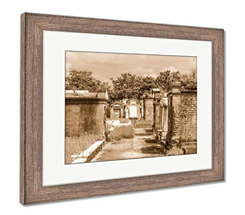 (Ashley Framed Prints Lafayette Cemetery in New Orleans with Historic Grave Stones, Wall Art Home Decoration, Sepia, 26x30 (Frame Size), Rustic Barn Wood Frame,)