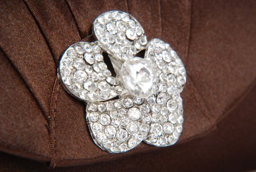 Vivid Pochette sac à main satin marron chocolat avec plis et diamant rose sur rabat