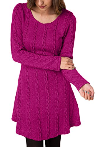 YMING Ladies Casual Jumper Top Fashion Sweater Dress Cable Knit Top Rose XL