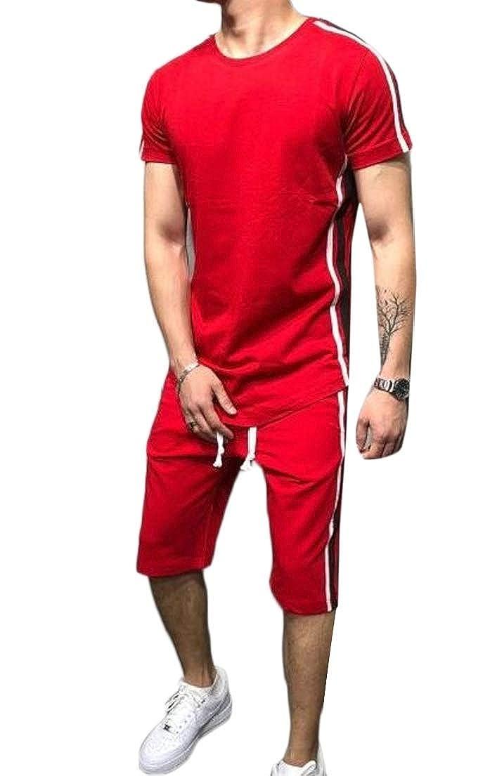 X-Future Mens Color Block T-Shirts Two Pieces Gym Shorts Sweatsuit Outfit Set