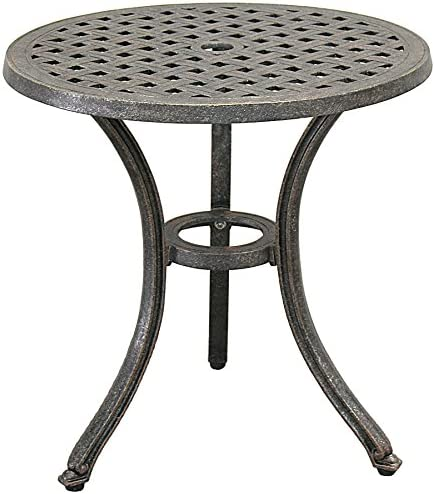 Elegant Cast Aluminum Round End Table Perfect for Your Patio
